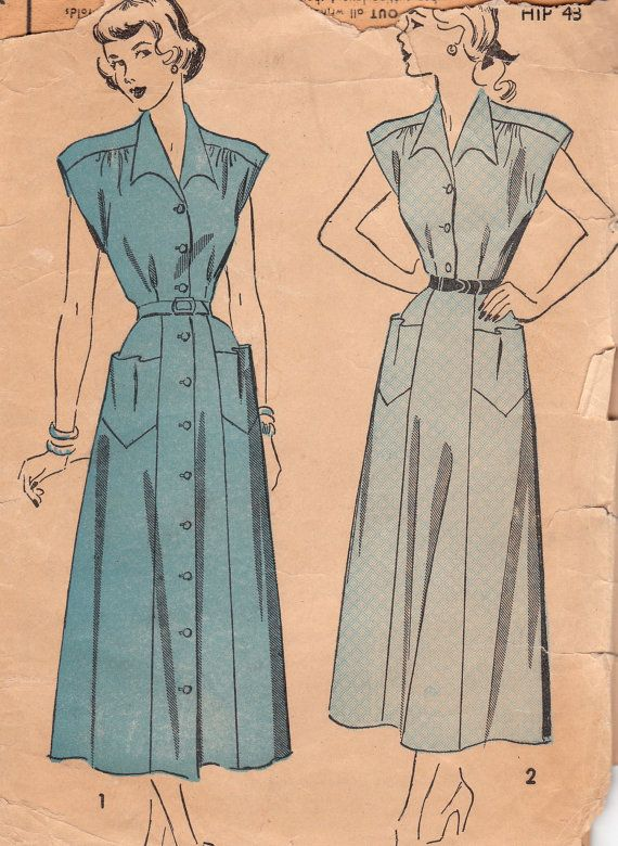 "Late 40s dress pattern, 40"" bust"