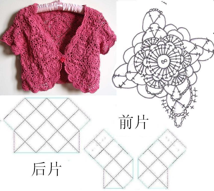 bolero de croche feminino com grafico