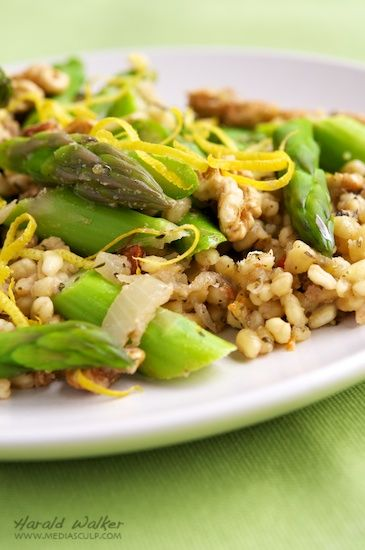 Lemony Barley Risotto with Asparagus and Walnuts