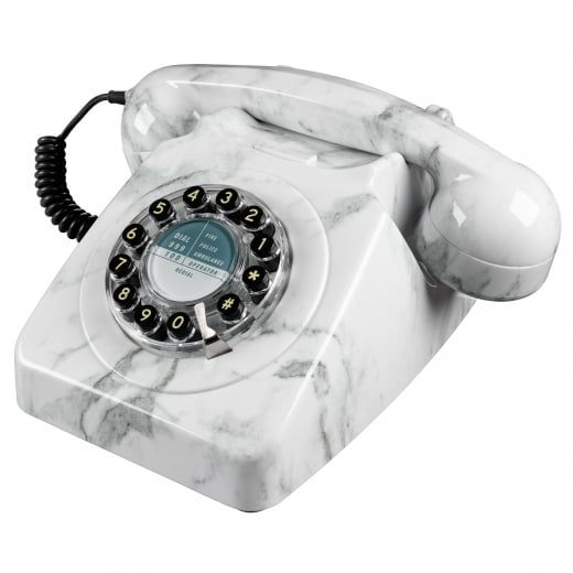 Wild \ Wolf Telecommunications 746 Marble Push Button Telephone - küchen wanduhren shop