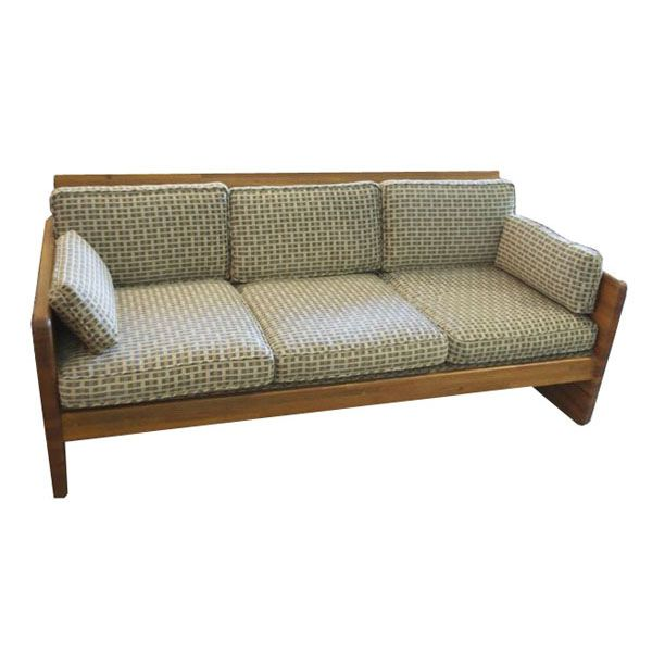 70s Era Wood Trimmed Sofa
