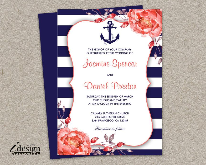 Nautical Wedding Invitation Printable Navy Blue And C Invitations With A White Stripe Design Anchor Watercolor Peonies