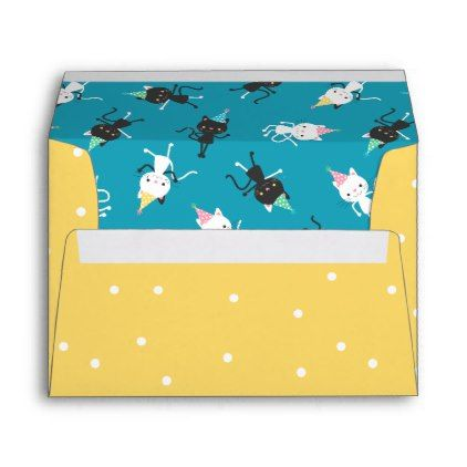 Yellow \ White Dots with Dancing Cat Lining Envelope - pattern - sample small envelope template