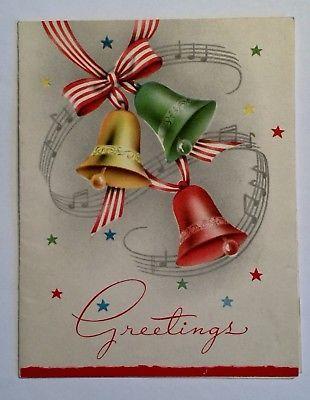 Vintage christmas greeting card mid century bells stars music vintage christmas greeting card mid century bells stars music notes 2 images m4hsunfo