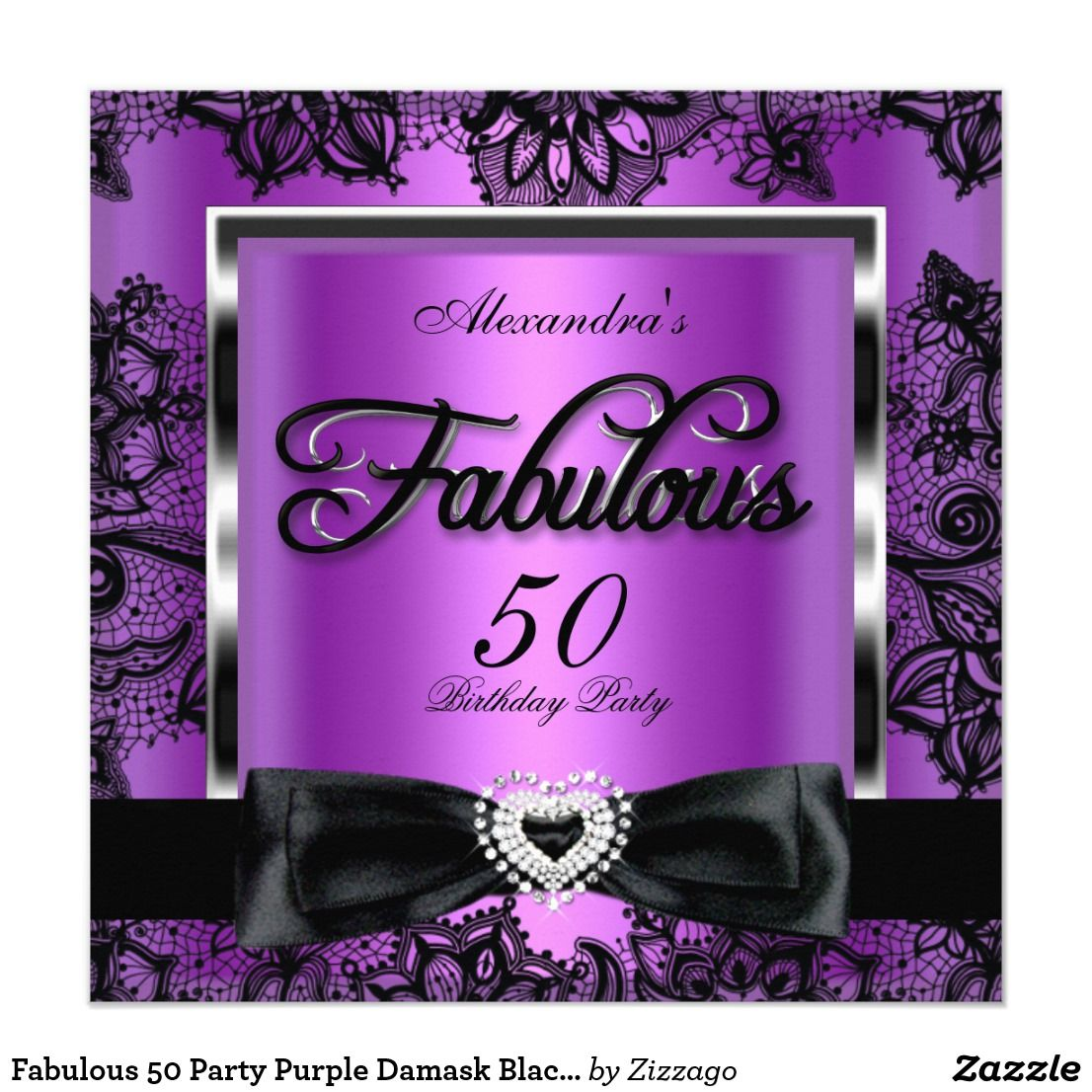 make your own birthday party invitations online for free%0A Fabulous    Party Purple Damask Black Lace Card fabulous     Purple Damask  Silver Black Lace