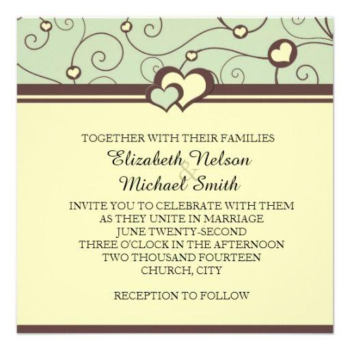 Romantic Hearts Swirls Green Wedding Invite