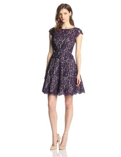 Eliza J Women's Cap-Sleeve Lace Fit-and-Flare Party Dress | Cap ...