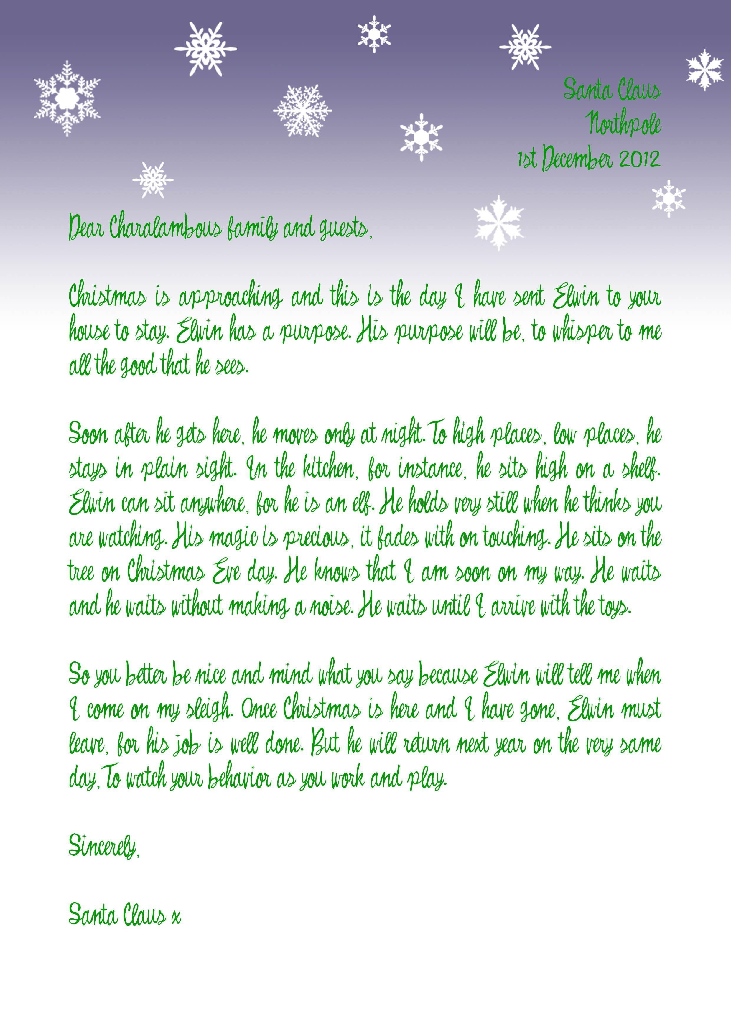 Letter From Santa  Christmas Fun    Santa Christmas
