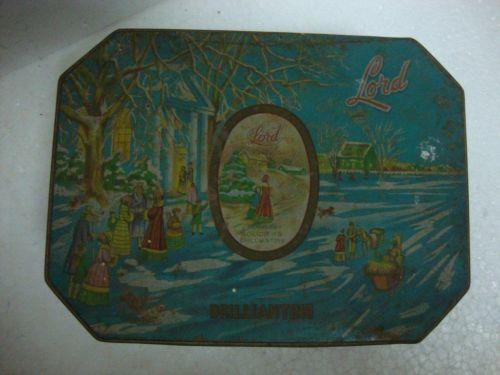 Vintage Rare Lord Lavender Solidified Brilliantine Litho Print Tin Box