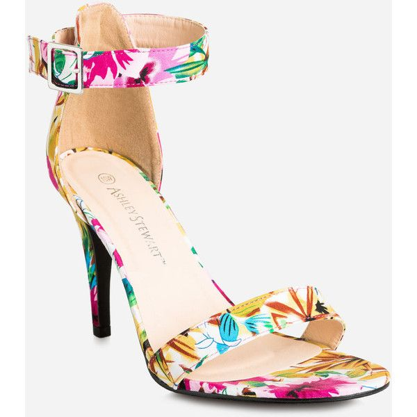 da8bf121c27 Ashley Stewart Floral Open Toe Sandal - Wide Width ( 35) ❤ liked on  Polyvore featuring shoes