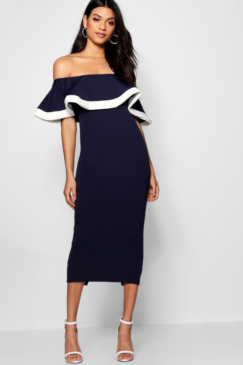 f529f88de8 Navy purple Lavender      Click here to find out about the Bea Tipping  Detail Frill Bardot Midi Dress from Boohoo