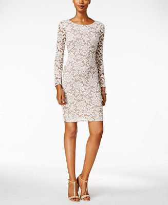 Jessica Howard's floral lace sheath dress adds a dash of romance and sophistication to any special occasion. | Polyester lace/metallic threading; lining: polyester | Machine washable | Imported | Pull