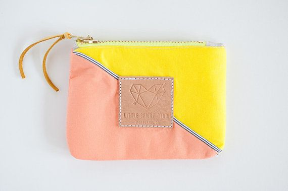 Color block yellow and salmon coin purse / by littlebrightstudio,   Meg, are these the brightness of your colors?