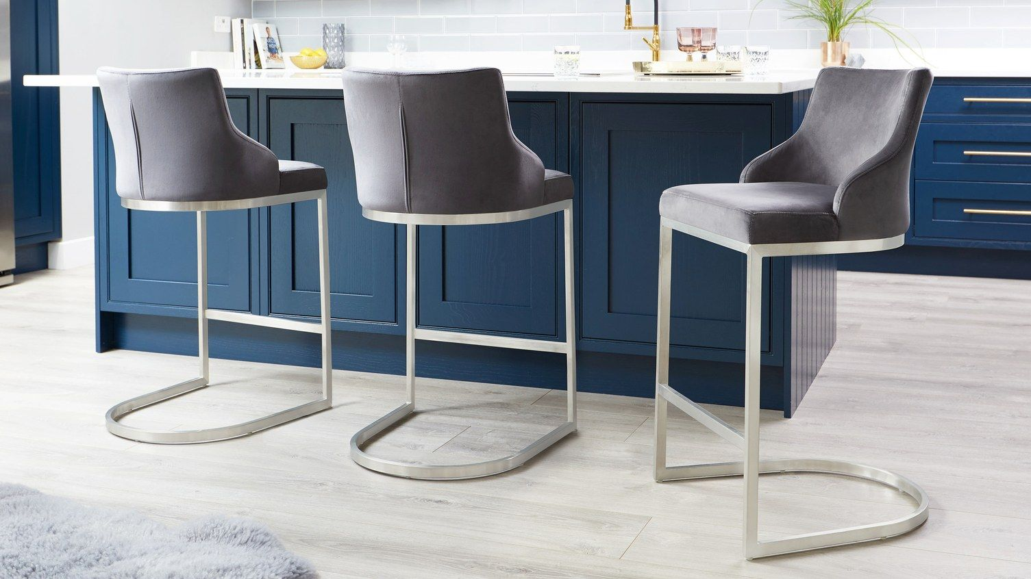 Form Velvet Stainless Steel Bar Stool With Backrest Uk Modern