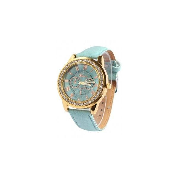 Roman Numeral Rhinestoned Watch ($4.76) ❤ liked on Polyvore featuring jewelry, watches, rhinestone jewelry, roman numeral watches, rhinestone watches and roman numeral jewelry