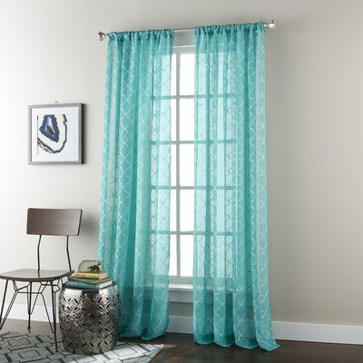 House Of Hampton Halterman Geometric Sheer Rod Pocket Curtain