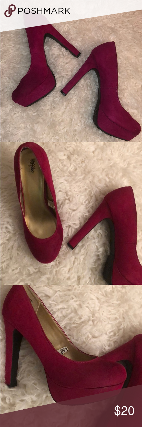Never worn magenta heels Magenta fuschia colored heels with a platform on  the front which f51e4d56bdbe