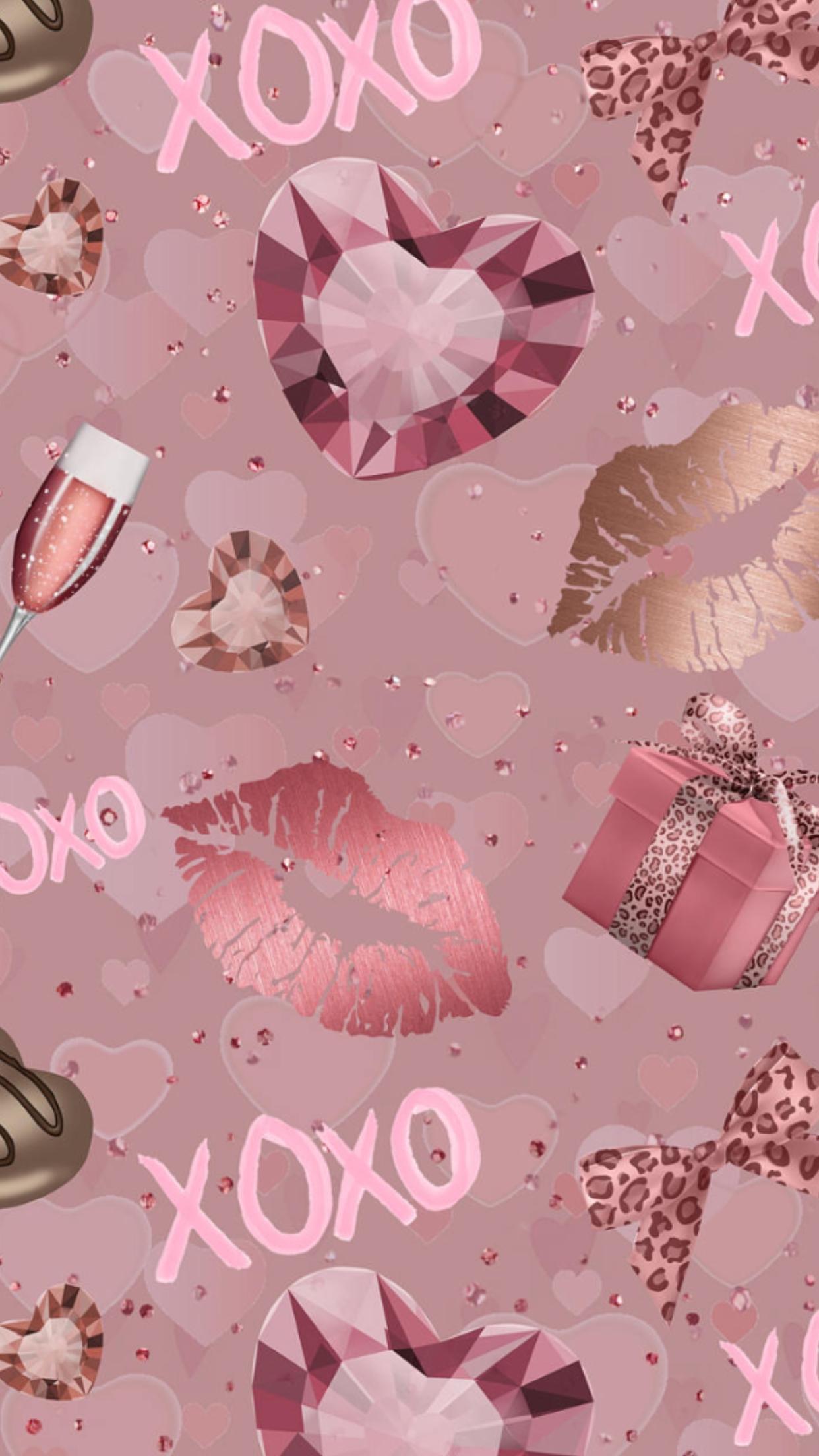 Rose Good Kisses Pinklips Gold Wallpaper Background Pretty Wallpapers Rose Gold Wallpaper