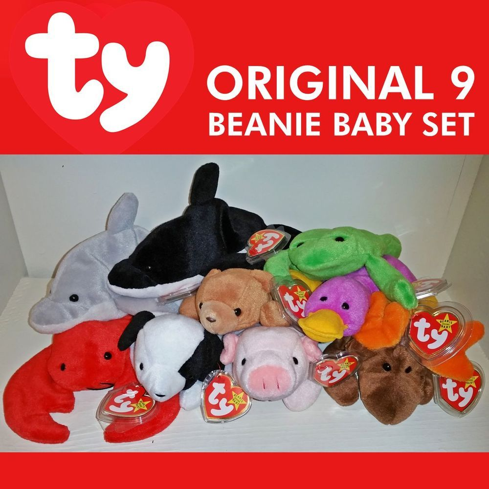 ORIGINAL 9 SET -  BEANIE BABY 1ST Gen Lot Patti Chocolate Splash Flash Spot  1993  Ty de9714dfe6a