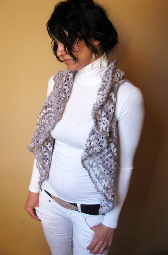 Vest  Womens Vest  Hand Crocheted Dolly Circle  by knittingFashion