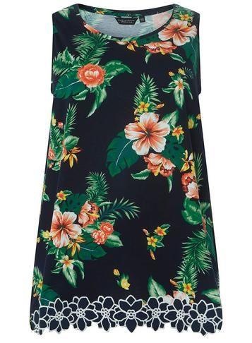 5705e5e1cb1cf8 Womens DP Curve Plus Size Navy Tropical Print Daisy Trim Vest- Blue