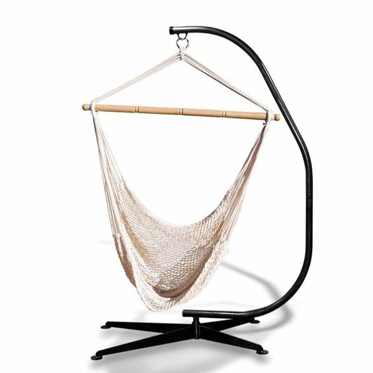 Hamac Chaise En Filet Blanc Avec Support Metallique Noir