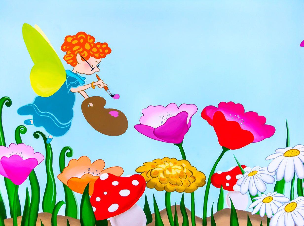 Bright And Colourful Fairies Mural