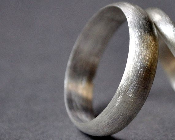 Mens 5mm Sterling Silver Wedding Band Handmade Ring Matte Finish Modern Contemporary