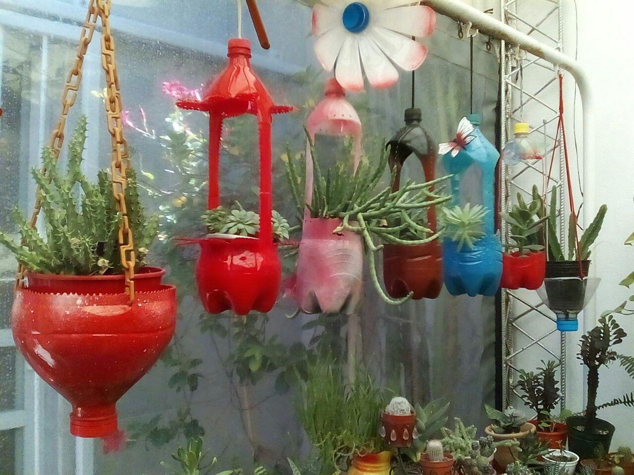Mi Jardín Colgante Reciclado Recycled Garden Art Plastic Bottle Art Plastic Bottle Crafts