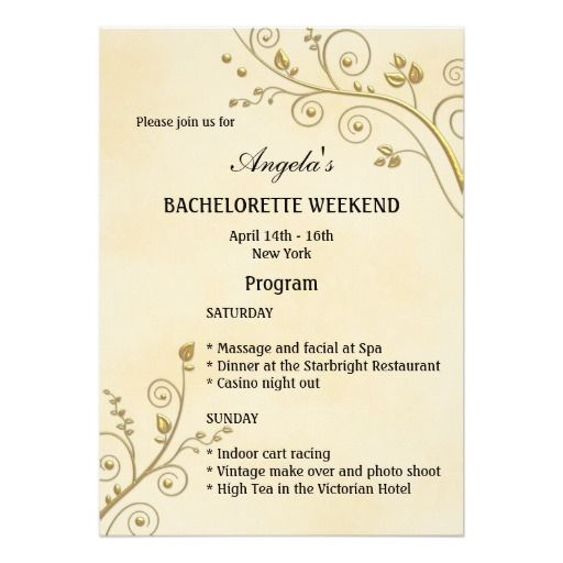 Bachelorette Weekend Program Template Invitation | Hens Night ...