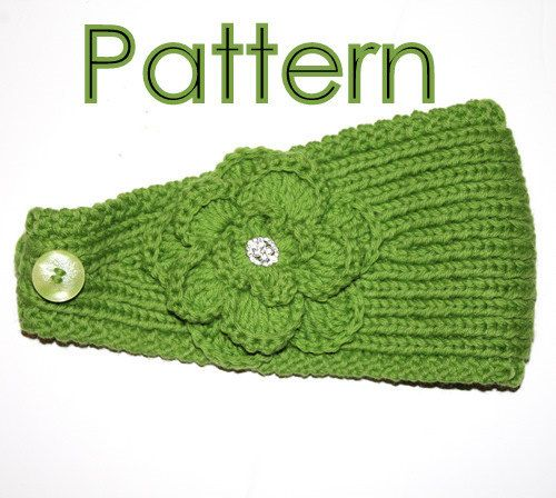 Pattern Knitting Pattern Headband With Crochet Or Knitted Flower