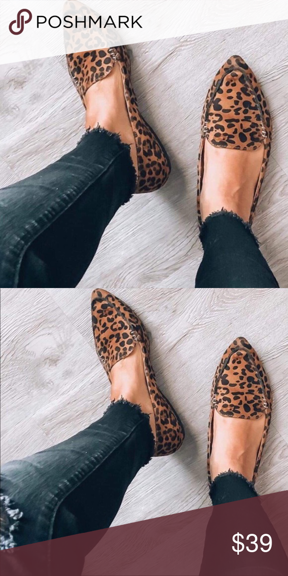 Leopard loafer flat shoes in 2020