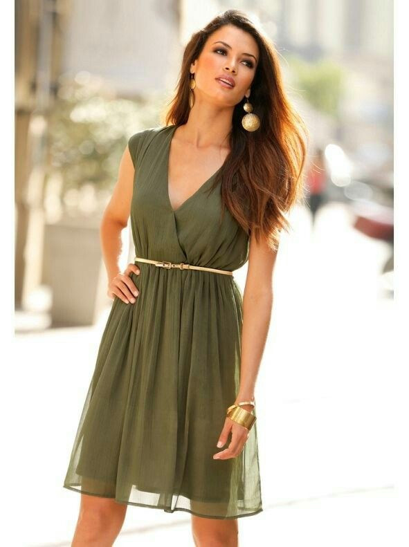 Vestido Verde Militar In 2019 Dresses Fashion Outfits