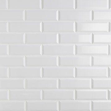 Carrelage mural plaquetas en fa ence blanc 10 x 30 cm for Carrelage metro argent