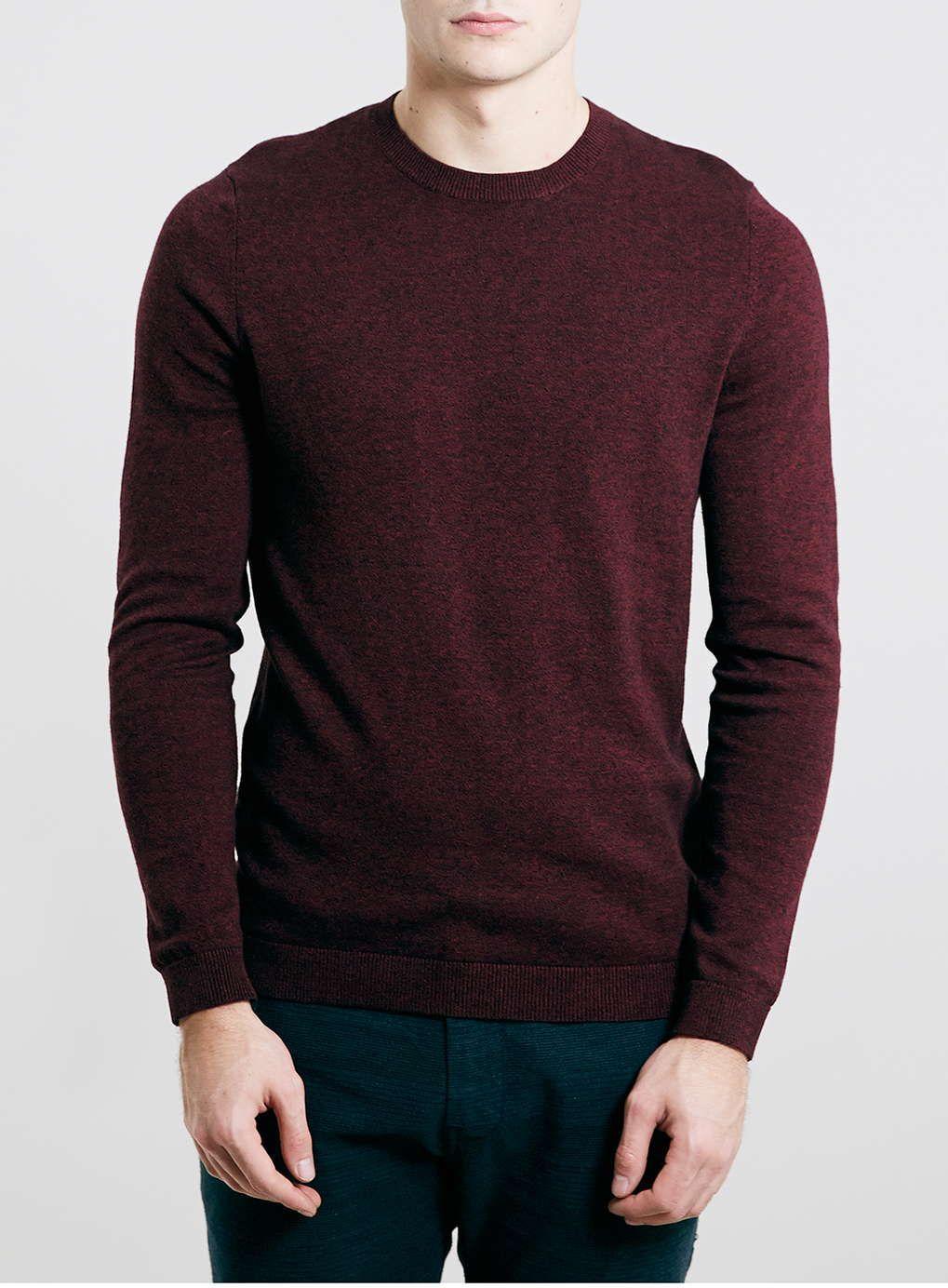 Burgundy/Black Cotton Twist Crew Neck Sweater - Plain Sweaters
