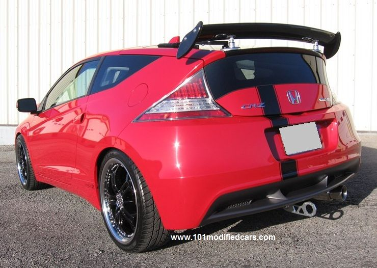 Modified Honda Crz Hybrid Rear View With Black Label Fabrication Cat Back Exhaust Aluminum Tow Hook And Custom Carbon Fiber Gt Wing