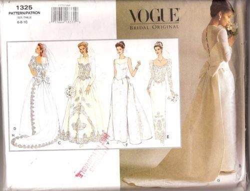 VOGUE-1325-VINTAGE-WEDDING-DRESS-SEWING-PATTERN-6-8-10-ELEGANT-GOWN ...