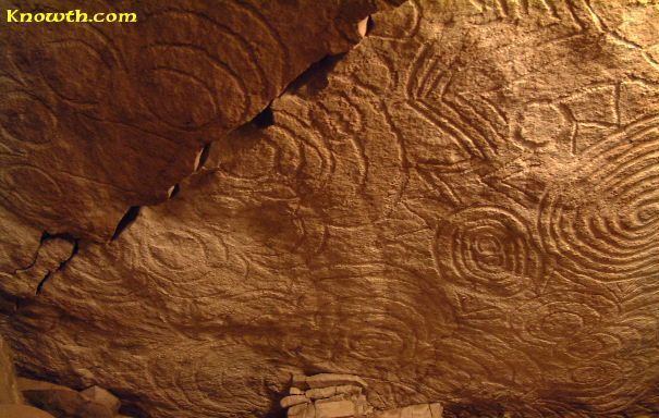 Another View Of The Megalithic Art Carved On The Roof Stone Of The East Recess Off The Main Chamber Inside The Mound At Newg Celtic Designs Megalith Art Carved