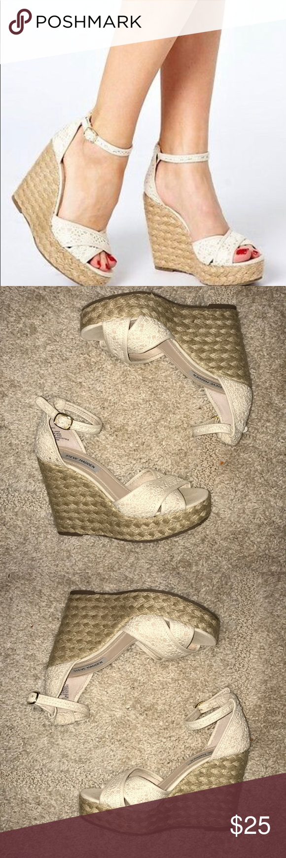 5838f51ab4b Steve Madden Marrvil Crochet Wedge Sz 7 1/2M Steve Madden Marrvil ...