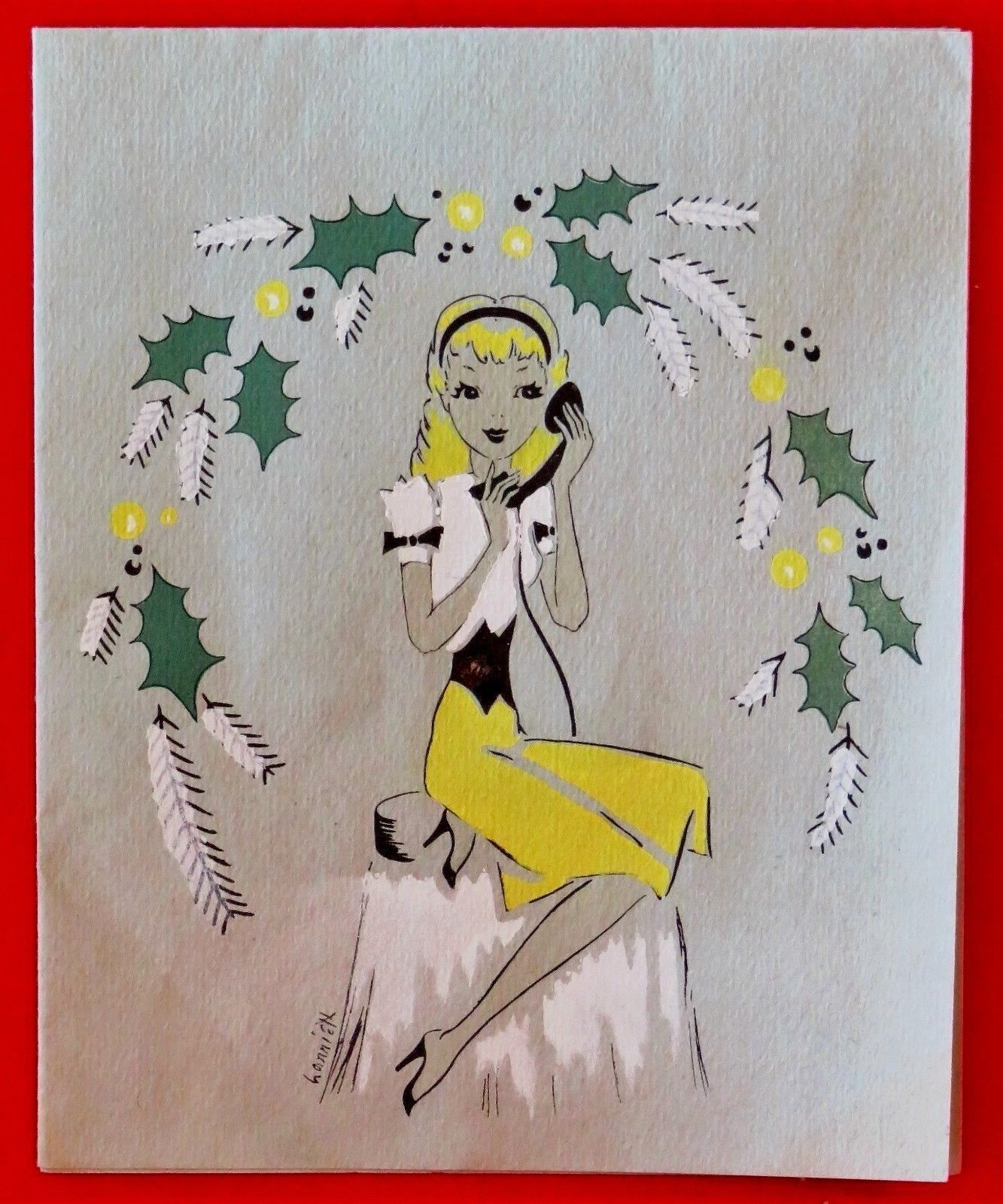 Vintage Christmas Card Unused Mid Century Girl Lady Yellow Dress