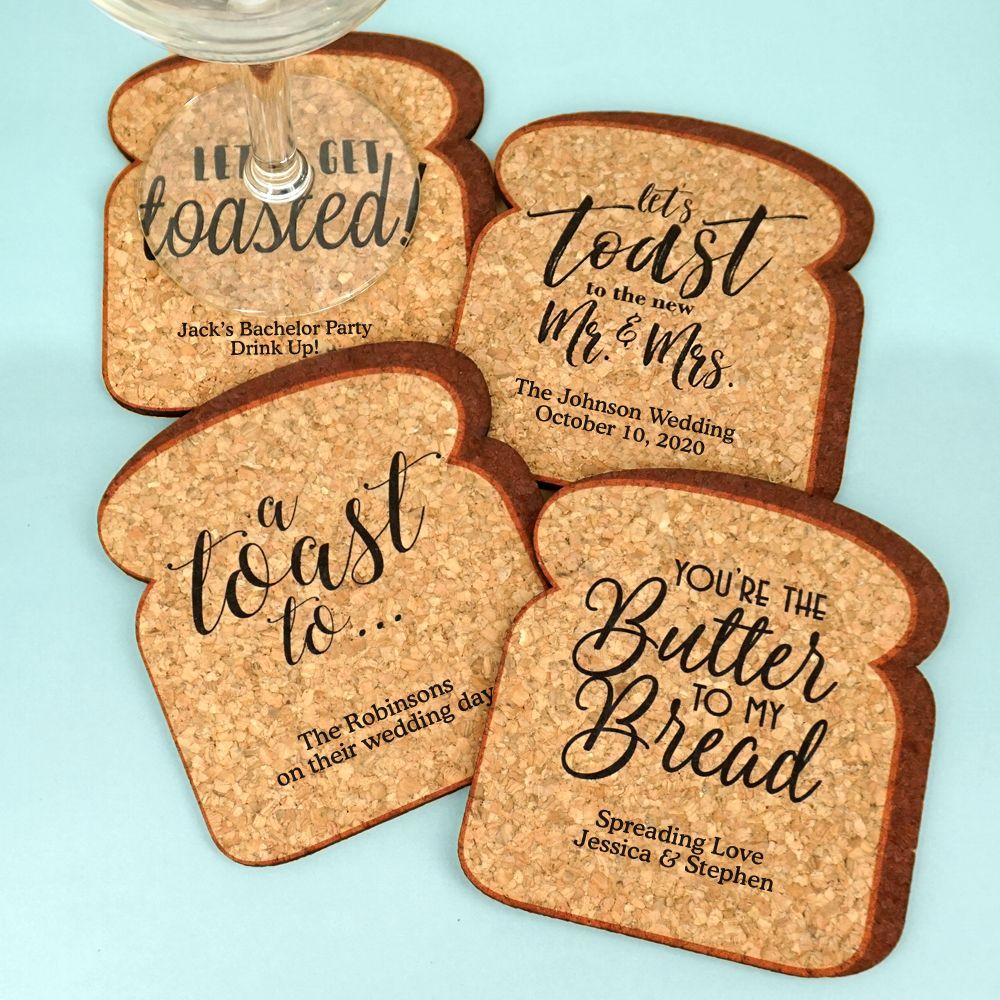 Wedding Cork Coaster: Personalized Toast Shape Cork Coaster