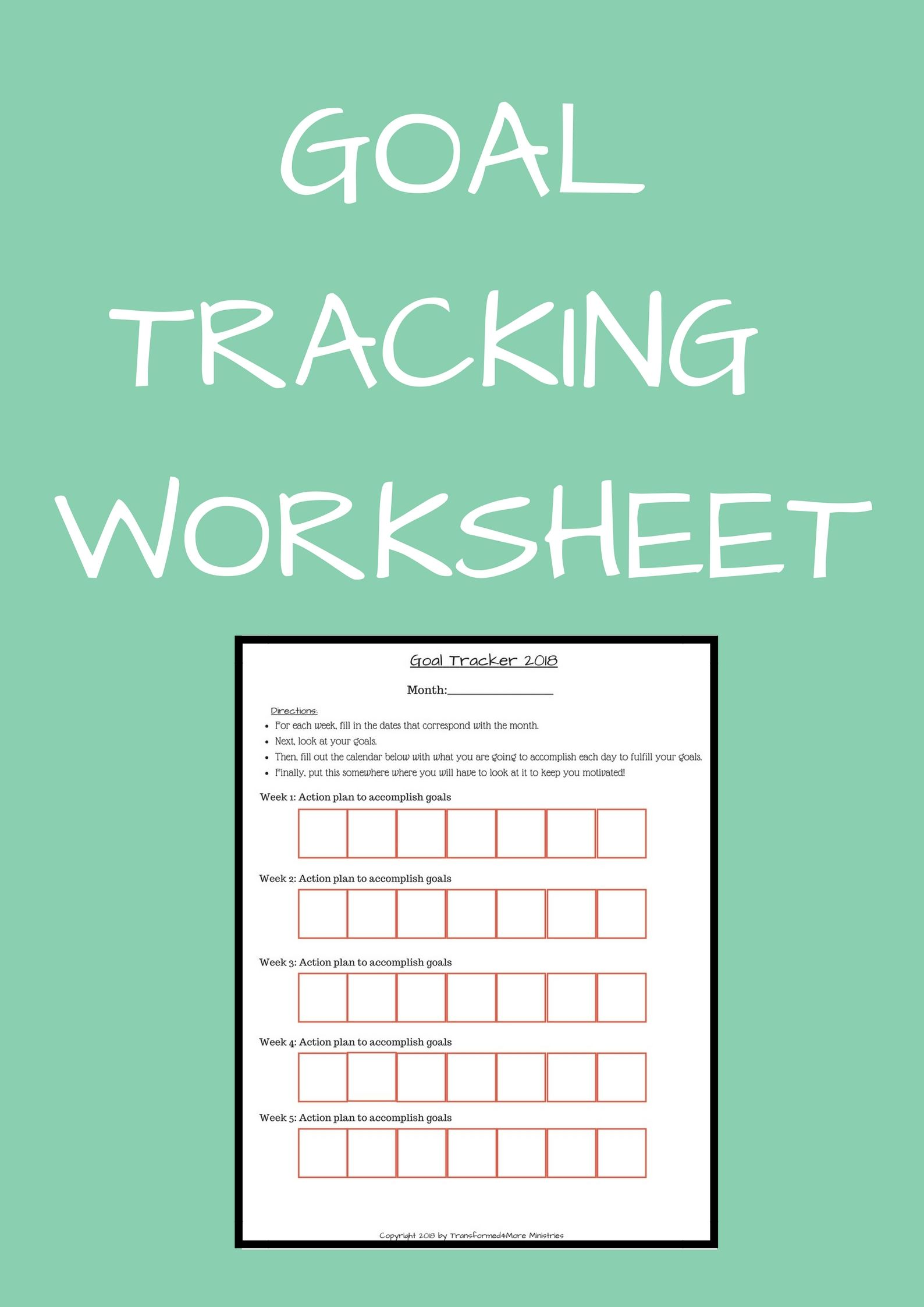 Goal Tracking Worksheet Transformed4more Free