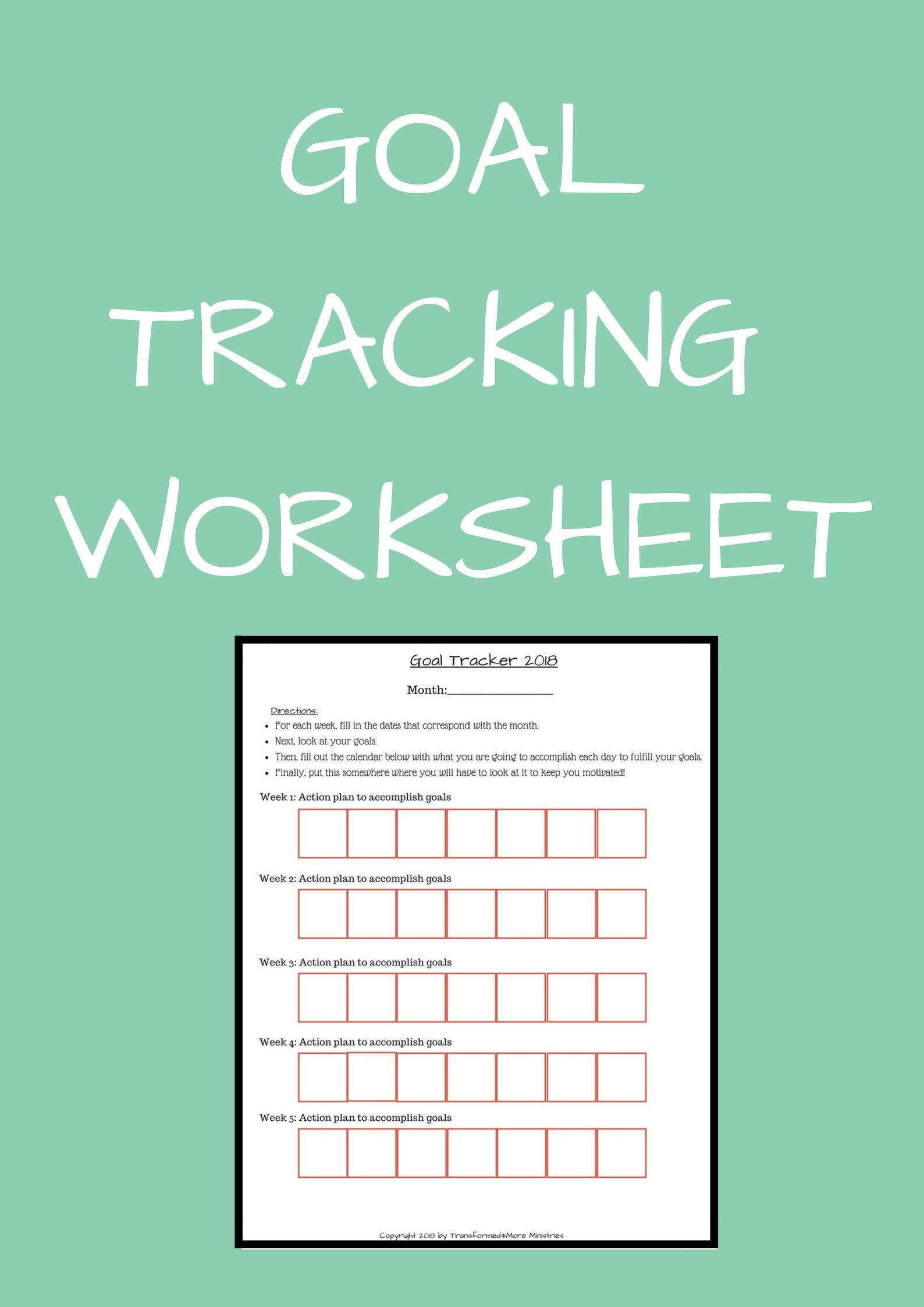 Goal Tracking Worksheet Transformed4more Free