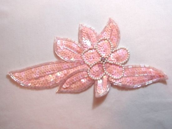 BEAD AND SEQUIN SILVER FLORAL PETAL SET OF 2
