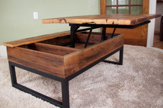 Coffee Table Reclaimed Barn Board Lift Top Wood & by SequoiaVB ...