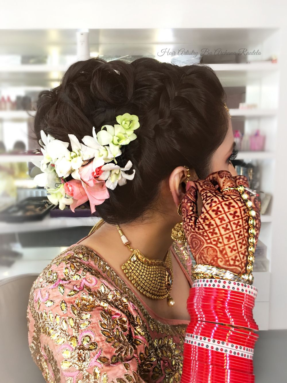 Beautiful gorgeous bride Suruchi, flowers on the hair Hair Artistry By Archana Rautela