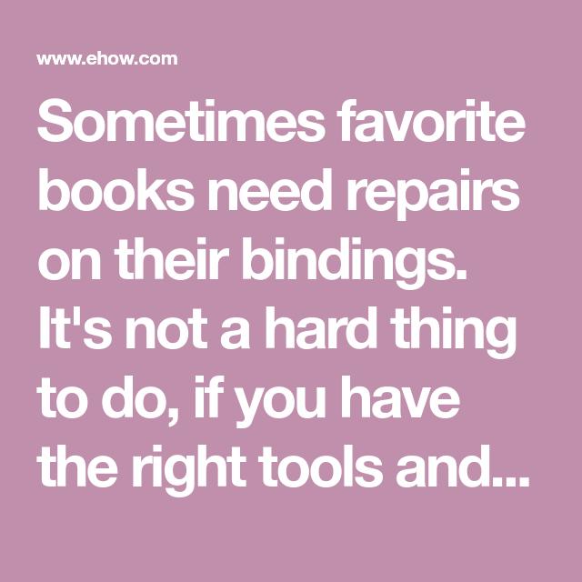 How To Repair A Book Binding