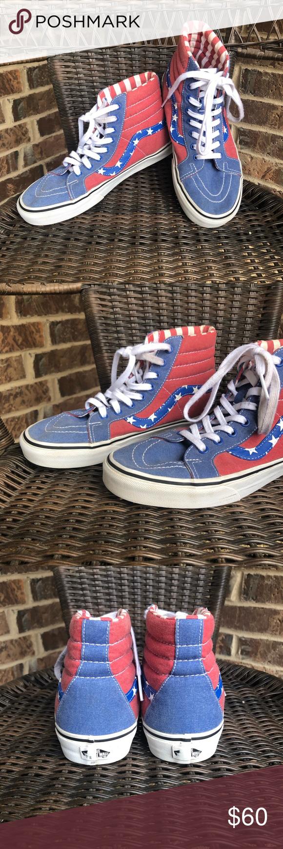 b6e826929bf63d Vans SK8-Hi Reissue Stars and Stripes Canvas Shoes EUC. Light wear ...