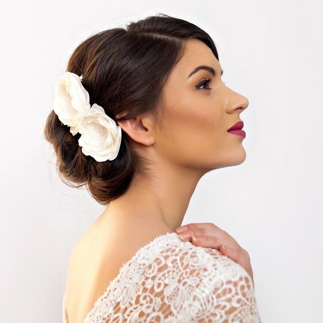 Bridal Hair Flowers Peony Rose Wedding Flower Hair Piece Double