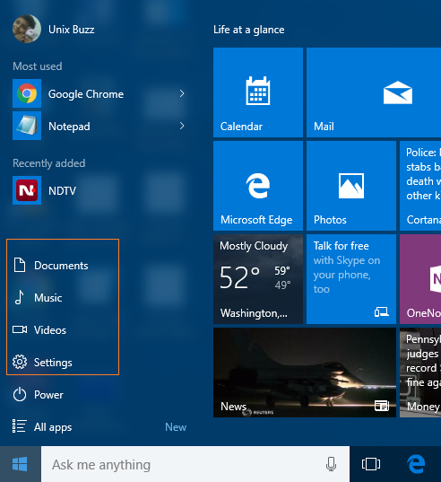 Add or Change Folder Locations to Windows 10 Start Menu